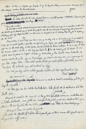Una de las hojas del manuscrito inédito de 'La Colmena' de Cela