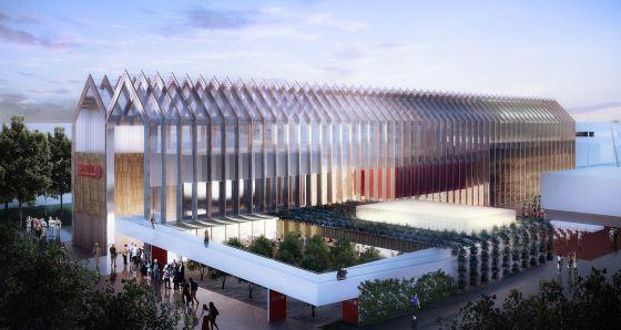 Exterior del pabellón de España en la Expo Milano 2015.