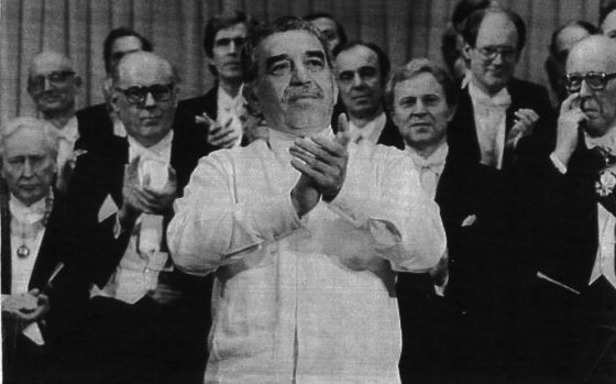 Gabriel García Márquez, durante la entrega del Nobel, en 1982.