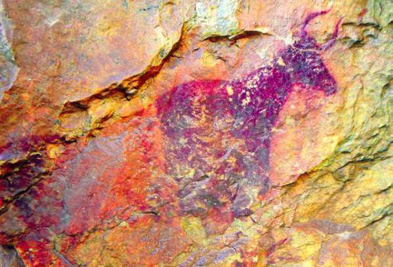 Una de las pinturas rupestres halladas en Vilafranca (Castellón).