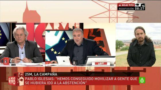 Javier Nart y Pablo Iglesias, en el programa de La Sexta 'Al rojo vivo'.