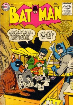 Portada del 'Batman #97' en la que se ve la sagacidad del detective 'Bat-Perro'.