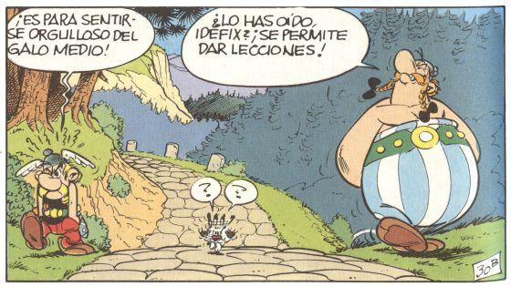 Viñeta de Astérix y Obélix que se publicó en el primer número de Pilote.