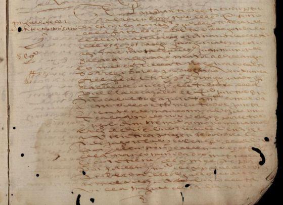 Detalle del documento que acredita a Miguel de Cervantes como recaudador de la Hacienda Real en La Puebla de Cazalla.