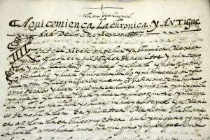 Inicio de una crónica del códice. Arranca en español antiguo y continúa en náhuatl.