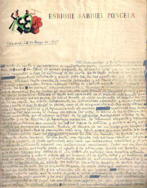 Carta de Jardiel Poncela a un amigo desde Uruguay.