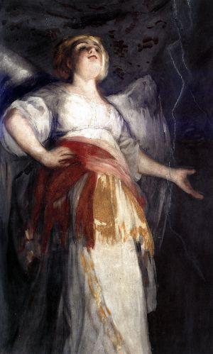 Detalle de una de las 'ángelas' de los frescos de la ermita de San Antonio de la Florida.