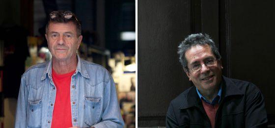 Guillermo Saccomano, a la izquierda; César Aira, a la derecha.