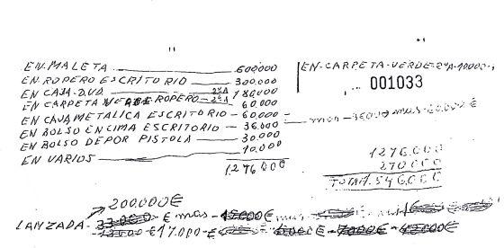 Nota de Fernández Castiñeiras que reveló dónde escondía el botín.
