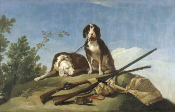 'Perros en traílla', de Goya, 1775