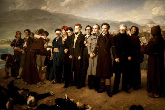 El cuadro 'Fusilamiento de Torrijos y sus compañeros en las playas de Málaga', de Antonio Gisbert, iluminado con luz halógena.