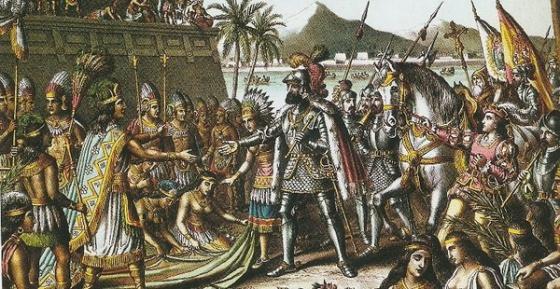 Hernán Cortes entrando en Tenochtitlán