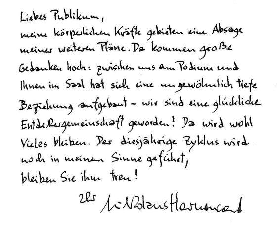 Carta de despedida de Nikolaus Harnoncourt.