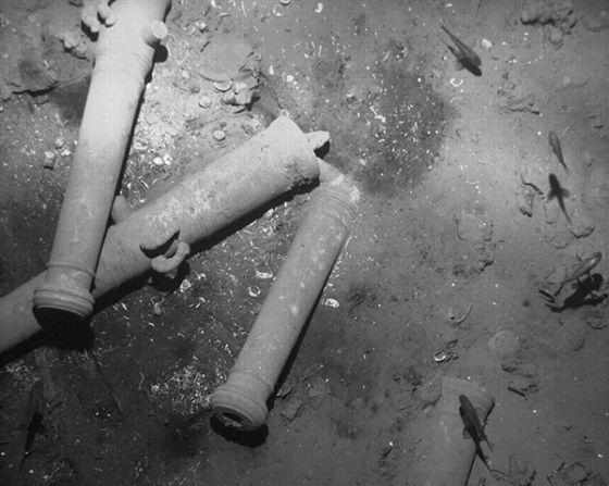 Imágenes de restos de cañones del galeón 'San José' en el fondo del mar Caribe