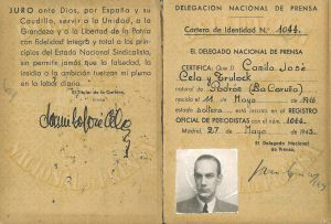 Carnet de prensa de Camilo José Cela.