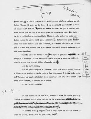 Primera página del mecanuscrito de Rulfo de 'Pedro Páramo'.