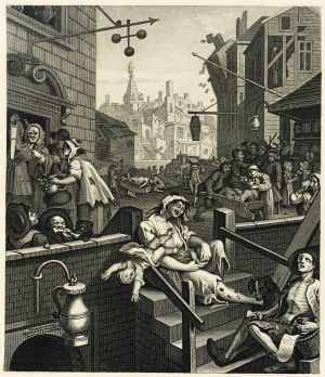 'El callejón de la ginebra', grabado de William Hogarth.