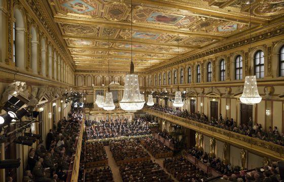 Ensayo general del Concierto de Año Nuevo en la Sala Dorada del Musikverein, de Viena, ayer miércoles.