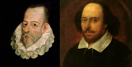 Retratos de Shakespeare y Cervantes, de cuyas muertes se cumplen 400 años en 2016.