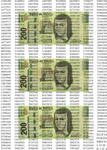 Billetes falsificados y números de serie.