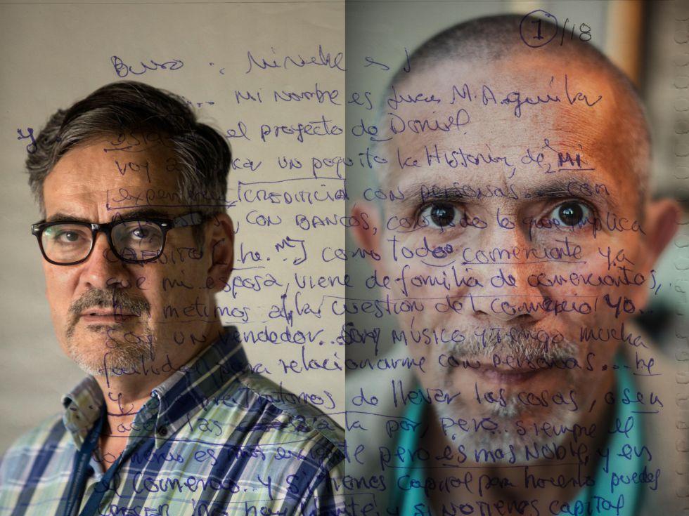 Juan Manuel Aguilar Freeman (izq.) y Juan Manuel Aguilar Rivera (dcha.), protagonistas de la obra del artista Daniel Aguilar Ruvalcaba.
