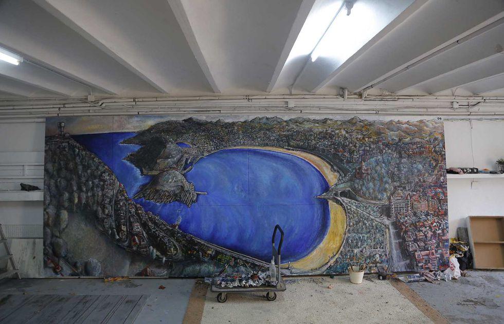 La pintura tiene casi seis metros de ancho y 2,30 metros de alto.