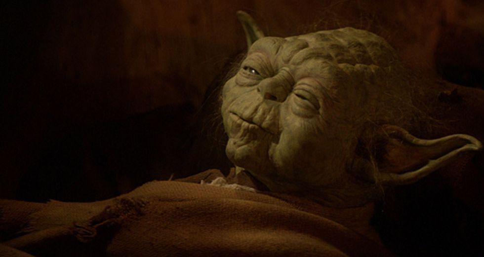 Retrato del maestro Yoda en una de las películas de la saga.