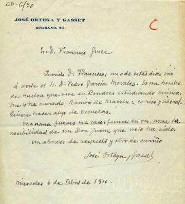Carta de Ortega a Giner de los Ríos, en 1910, en la que se anuncia que se casa al día siguiente.