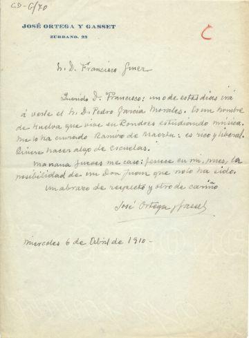 Carta de Ortega a Giner de los Ríos de 1910.