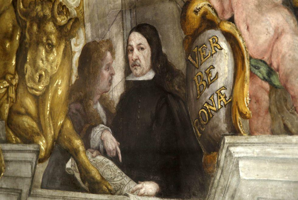 Dionís Vidal (a la izquierda) se pintó junto a su maestro Antonio Palomino en uno de los frescos.