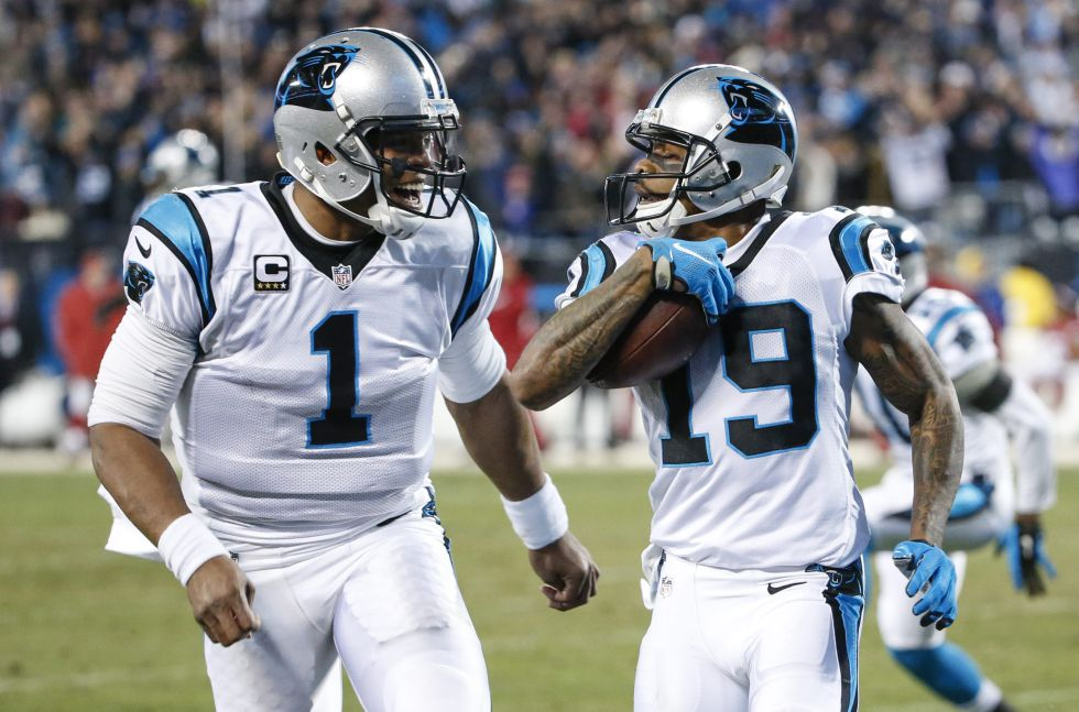 Cam Newton y Ted Ginn Jr., jugadores de los Panthers de Carolina.