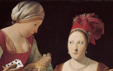 La mirada de complicidad de la meretriz a su sirvienta delata un posible estrabismo.