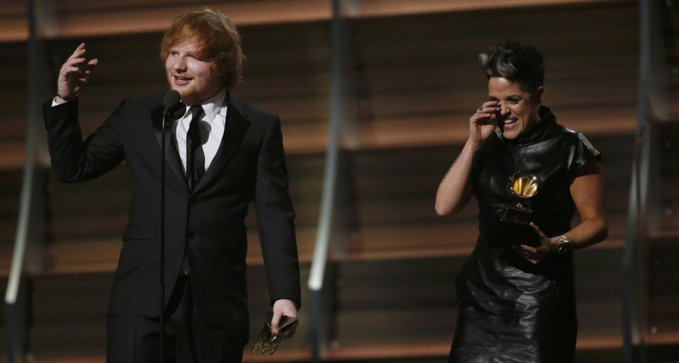 Ed Sheeran y Amy Wadge, compositores de 'Thinking out loud'.