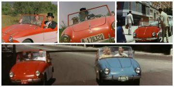 Montaje con varios fotogramas de películas en las que aparece el PTV: 'La boda era a las 12' (Julio Salvador, 1964) y 'Los tramposos (Pedro Lazaga, 1959).