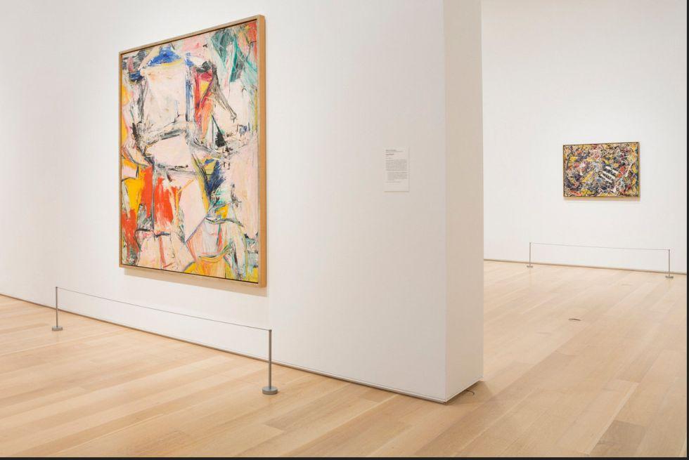 En primer plano, 'Interchange', de De Kooning. Detrás, 'Number 17A', de Pollock, en su sala en el Instituto de Arte de Chicago
