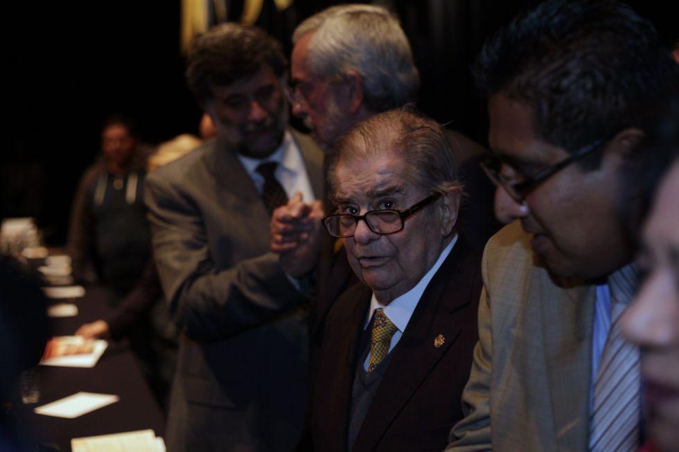 El historiador mexicano Miguel León-Portilla, durante el homenaje de este lunes.