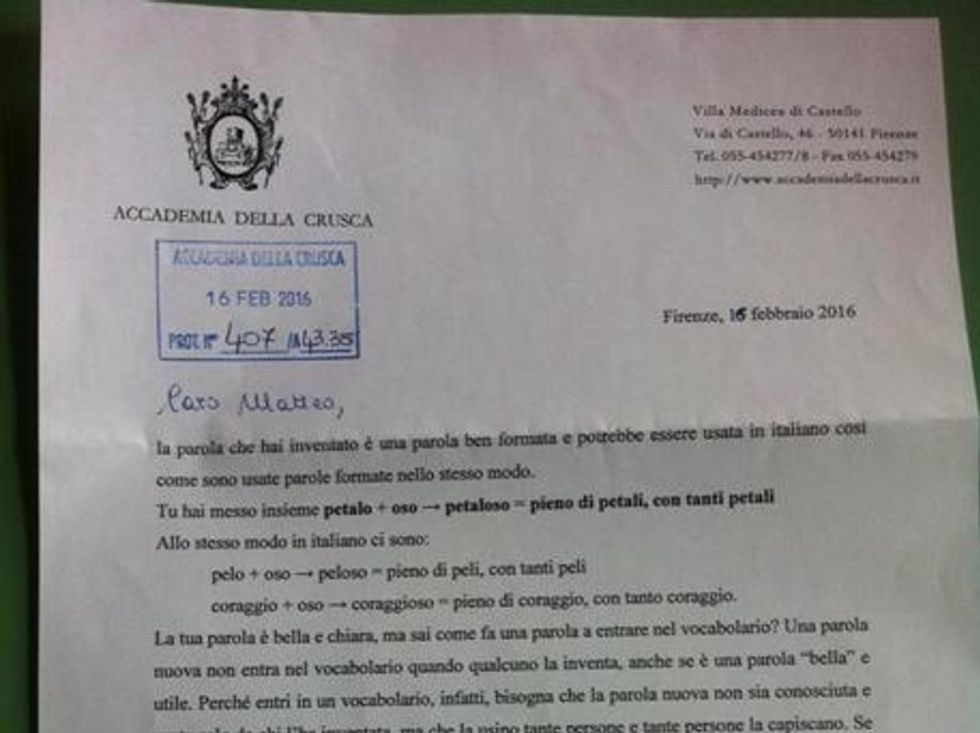 Arranque de la respuesta de la Accademia della Crusca al pequeño Matteo.