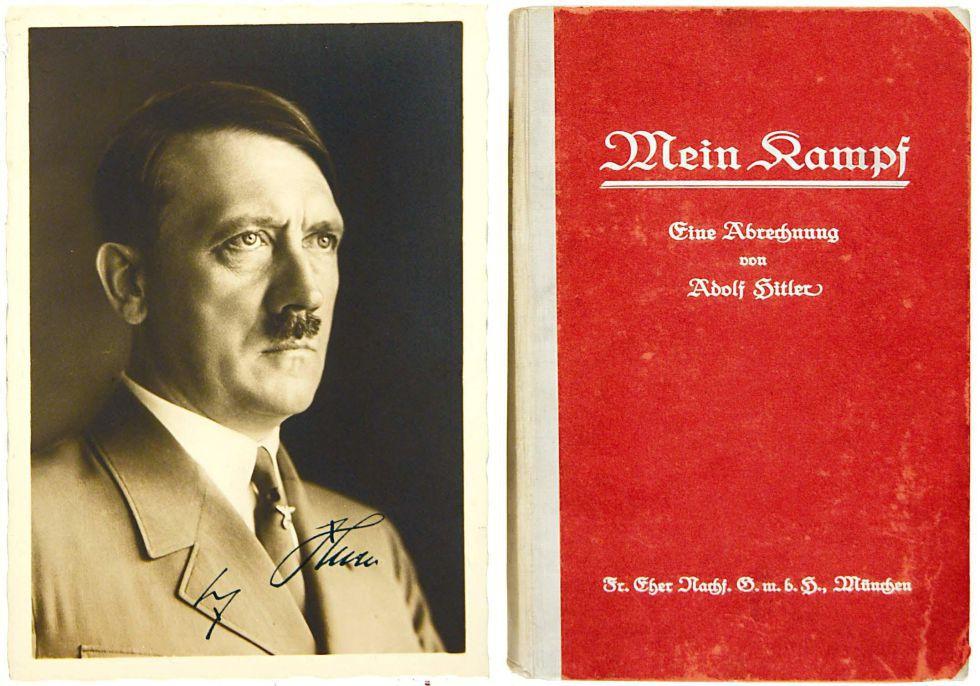 Portada y fotografía de Hitler en una primera edición de 'Mein Kampf', con autógrafo del dictador nazi incluido.