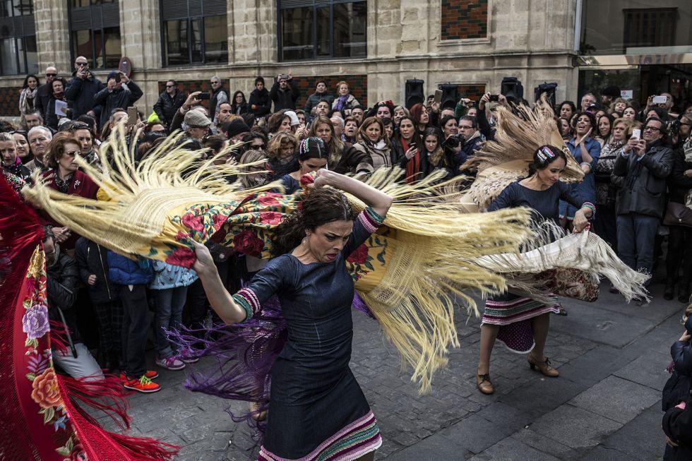 Representación flamenca en el mercado de abastos de Jerez.