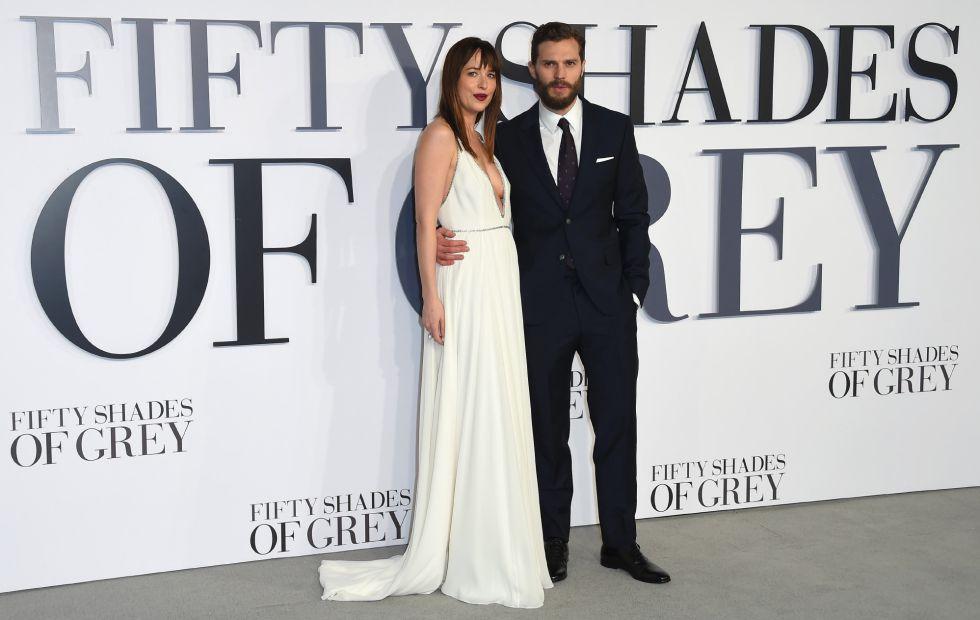 Dakota Johnson y Jamie Dornan, en el estreno de '50 sombras de Grey' en Londres.