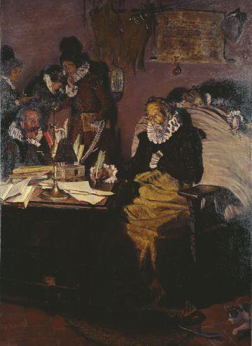 Cervantes escribiendo la dedicatoria de su obra al Conde de Lemos (Muñoz Degraín, 1916).