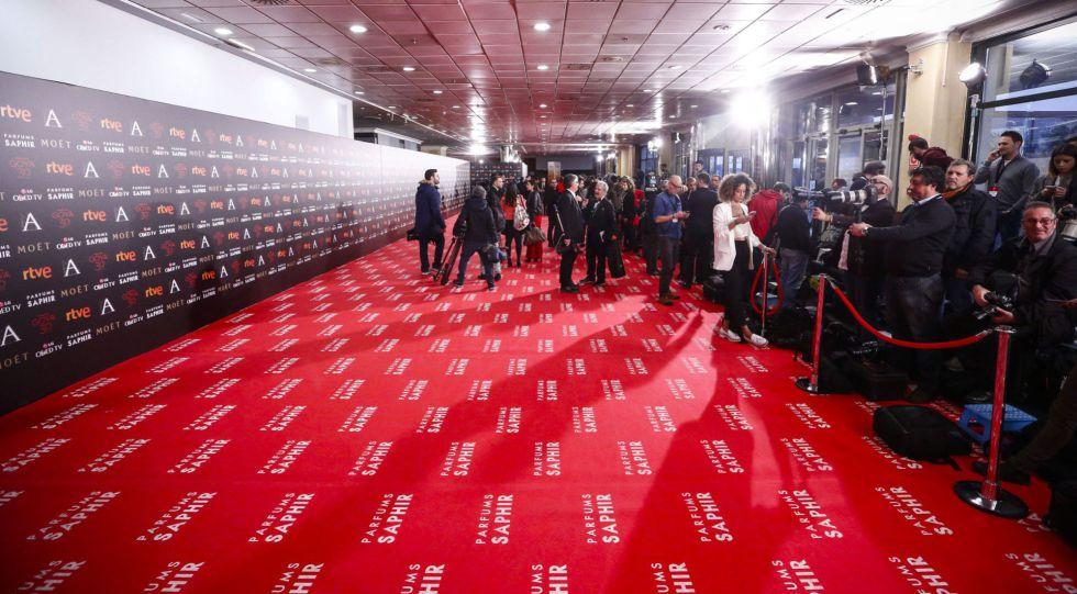 La alfombra roja, el sábado 8 de febrero por la tarde, antes de que empezaran a pisarla los invitados a los Goya.