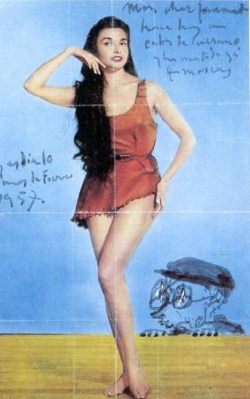 Una de las caricaturas en tinta china de la serie que Pablo Picasso dedicó a su amigo Jaume Sabartés a partir de un recorte de una pin-up.