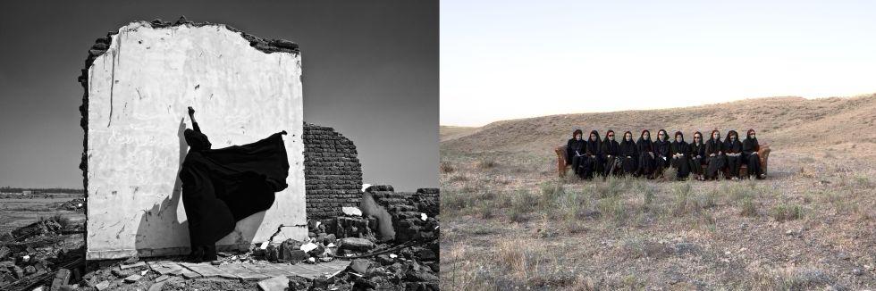 Foto de la 'Serie Bam' de Isabel Muñoz (2005) y 'Sin título', de Gohar Dashti (2013).