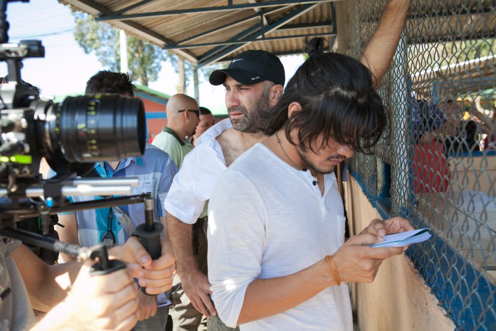 Uno de los actores durante el rodaje de la película.