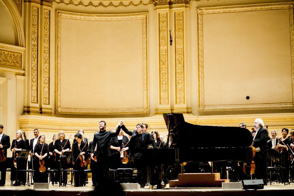 El director Pablo Heras-Casado y el pianista Javier Perianes.