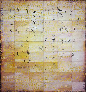 'Blossoming 26', obra del artista australiano Imants Tillers expuesta en la feria Art Dubai.