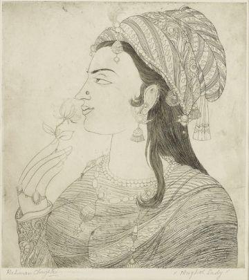 'Mughal Lady' (1950), de Abdur Rahman Chughtai.