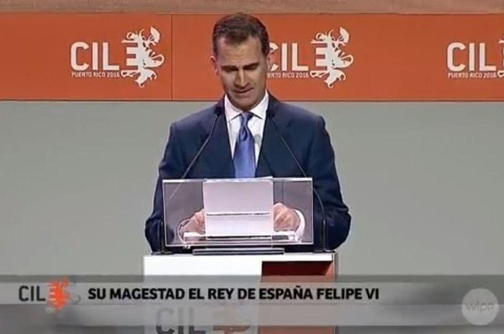 """Rótulo con una falta de ortografía en el Congreso Internacional de la Lengua. En lugar de """"magestad"""" debería poner Majestad"""