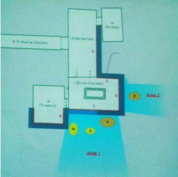 La W y la X representan los ecos de metal; la Y y la Z, señales de materia orgánica. En azul los espacios vacíos que corresponderían a las nuevas cámaras.